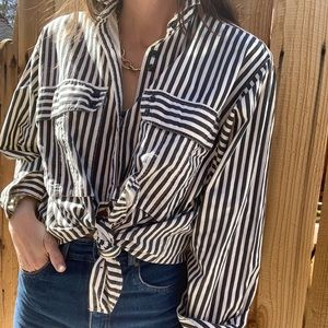 Vintage striped faded oversized cotton button down